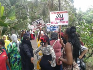 Photo: Sex workers in Kenya protest after a client killed one of their colleagues
