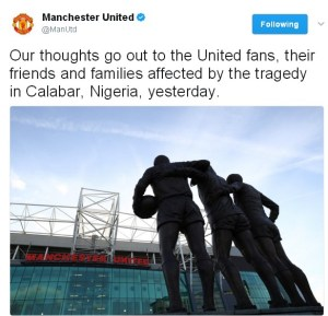 Manchester United FC send their condolence to the families of the bereaved