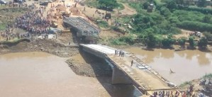 Omg! $12million bridge collapses just two weeks after presidential inspection (Photo)