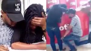 Nigerian lady forced to say 'YES' after her boyfriend proposed at the airport (Video)