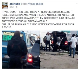 IPOB members bundled into the boot of a car by Anti-Cult in Port-Harcourt. (Photos)
