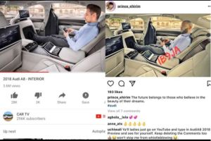 Shame! Mr Ideal 2016 caught after he Photo-shopped himself into the 2018 Audi A8 to deceive his unsuspecting followers