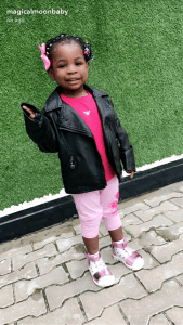 Imade, Davido's first daughter looking stylish as she hangs out with her mum