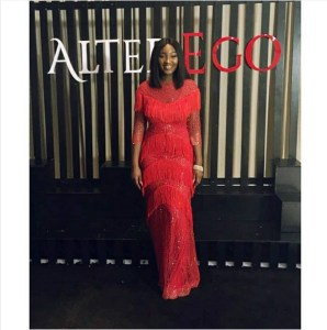 """Omotola's daughter, Meraiah stuns In red gown at """"Alter Ego"""" movie premiere"""