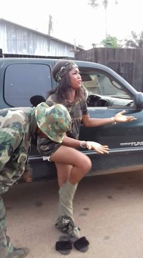 Soldiers allegedly strip Nigerian Lady for wearing a Camouflage (Photo)