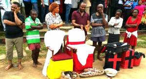 Diabolic pastor who killed Baby for rituals paraded with his boxes of charms. (Photos)