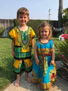 American woman's kids wear Nigerian outfits (Photos)