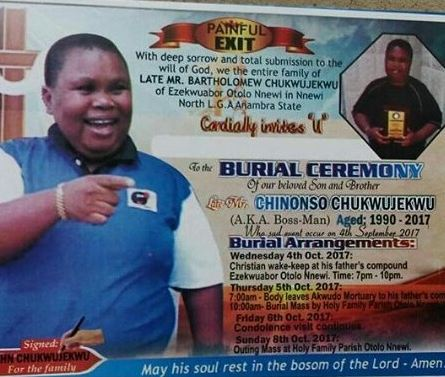 , Family of late Nollywood actor, Bossman, release his burial poster, Effiezy - Top Nigerian News & Entertainment Website