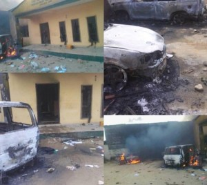 In Pictures: Police station burnt by suspected IPOB members in Ariaria, Aba (Photos)