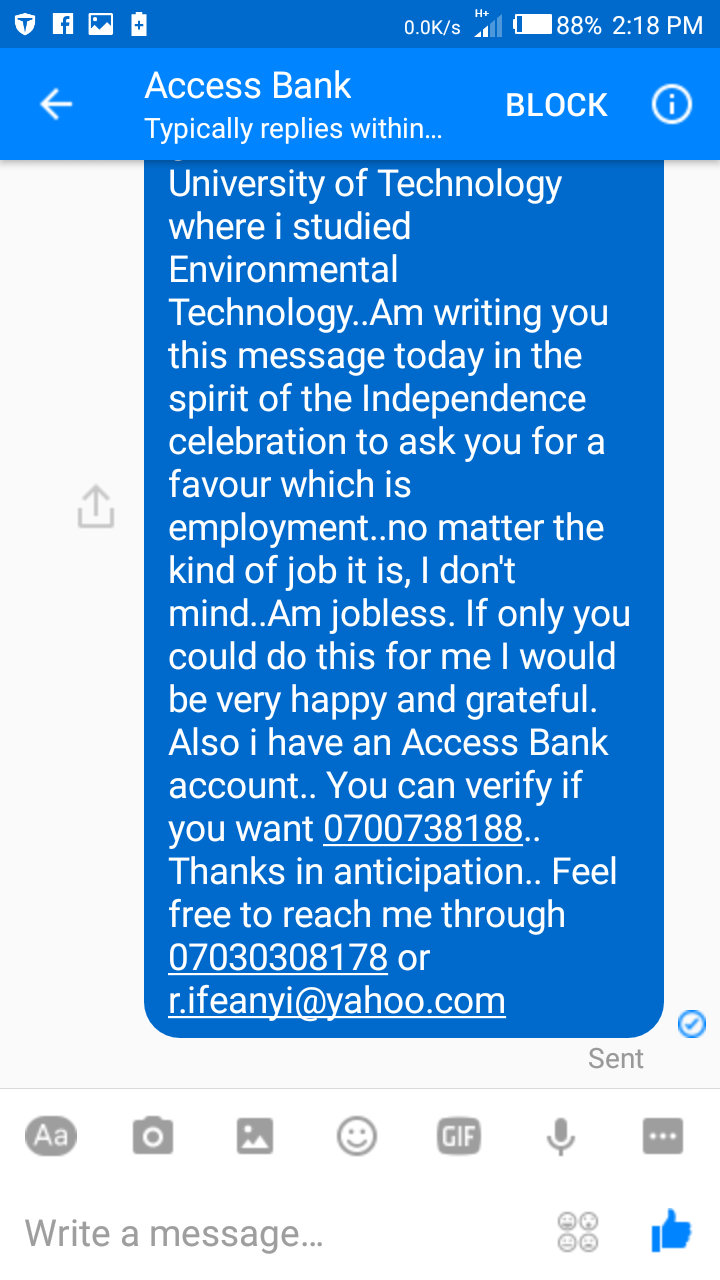 , INDEPENDENCE DAY: Man begs Access Bank for employment, Effiezy - Top Nigerian News & Entertainment Website