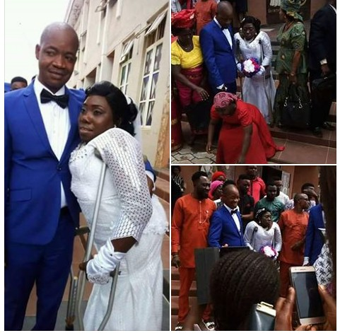 , Physical challenged woman with crutches weds in Anambra (Photos), Effiezy - Top Nigerian News & Entertainment Website