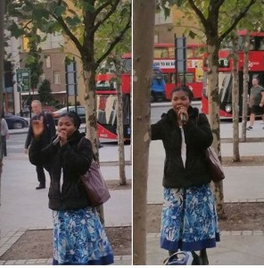 African woman preaching with microphone on London streets (Photos)