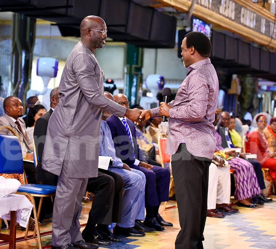 Liberia presidential candidate, George Weah visits T.B. Joshua in Lagos [PHOTOS]
