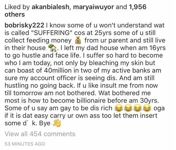 """, """"If you think it's easy to be rich by being gay, make your anuses available for firing"""" — Bobrisky, Effiezy - Top Nigerian News & Entertainment Website"""