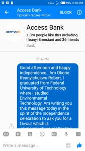 INDEPENDENCE DAY: Man begs Access Bank for employment