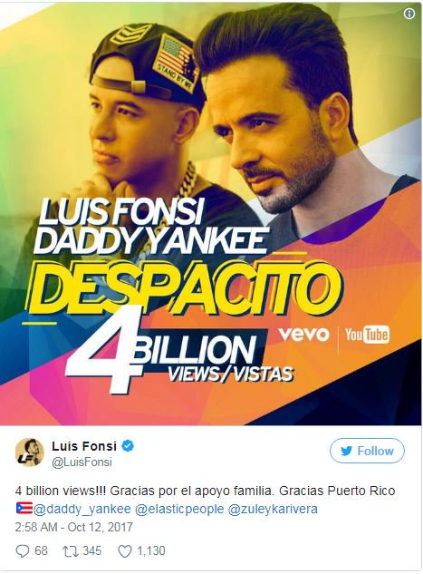 , 'Despacito' sets new record as it hits 4 Billion YouTube views, Effiezy - Top Nigerian News & Entertainment Website