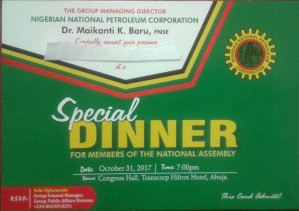 "NNPC organizes ""Special Dinner"" for National Assembly members following plans to investigate Baru over Kachikwu memo scandal. (Which way Nigeria)"