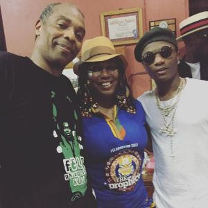 Femi Kuti, Wizkid, Tekno pictured together at the ongoing Felabration