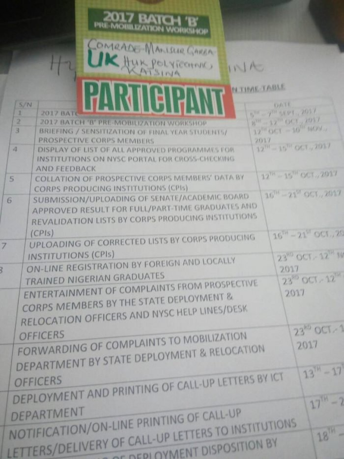 , NYSC 2017 Batch B Stream 1 Mobilization Time Table Released (See Dates), Effiezy - Top Nigerian News & Entertainment Website