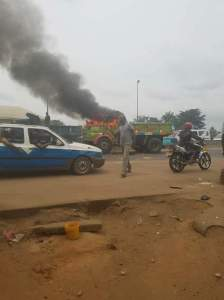 Truck Crushes Lady Dead In Owerri; Mob Burns The Truck (Very Graphic Photos)
