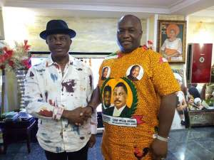 Obiano Poses With Ifeanyi Ubah At His Aguleri Home Over His Victory(Photos)