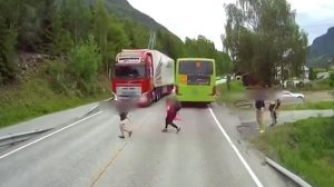 See How a Little Boy Was Nearly Crushed by Huge Lorry on the Road in Broad Daylight ( Video)