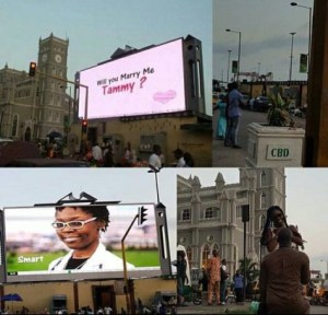 Nigerian Man Uses A Billboard In Lagos To Proposes To His Girlfriend (Photos)