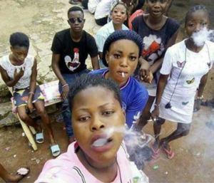 Viral Photo Of Young Less Concerned Nigerian Girls Smoking Weed (PHOTO)
