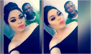 Check out the shoe Bobrisky bought for his gateman