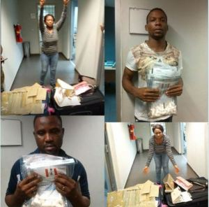 See the Woman and Two Men Caught Trying to Smuggle Drugs Through the Nnamdi Azikwe Int'nl Airport, Abuja (Photo)