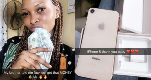 """""""My Brother Told Me To F*ck Them And Get That Money""""- Nigerian Lady Shows Off Her Iphone 8 And Dollar Bills (photo)"""
