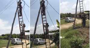 Watch Angry Nigerian Lady Who Tries To Prevent PHCN Officials From Disconnecting Her Power Supply – (Video)
