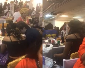 Pretty Slay Queen and Her Oyinbo Lover Caught Stealing Meat at a Party in Video Gone Viral Online (Video)