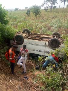 Peace Mass Bus involved in an accident in Abakiliki, Ebonyi (Photos)
