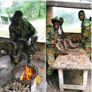 See as soldiers are happy as they cook a huge python to eat (Photos)