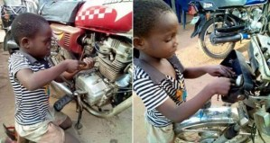 See Photos Of An 8-Year-Old Boy Who Is A Motorcycle Mechanic, Owns His Own Shop As Well