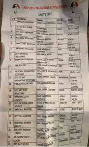 , #PDPconvention2017: 'Unity List' Causes Outrage At PDP's National Convention (Photo), Effiezy - Top Nigerian News & Entertainment Website