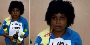"Lady forced to wear ""I Am A Thief"" after she was caught stealing wines at a shopping mall. (Photo)"