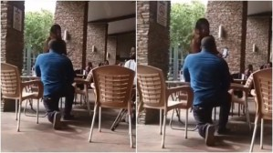 Ghanaian Lady Turns Down Boyfriend's Proposal In The Mall, Pours Water On Him (Video & Photo)