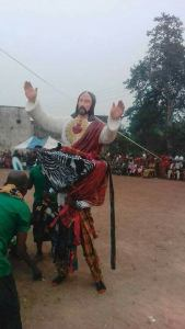 See A Masquerade Using The Statue Of Jesus Christ While Performing. (See Reactions)