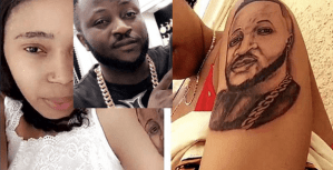 Nigerian Lady Tattoos Her Boyfriend's Face On Her Arm (Photos)