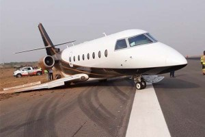 Nest Oil Private Jet Wheel Pulls Off While Landing At Abuja Airport (Photos)