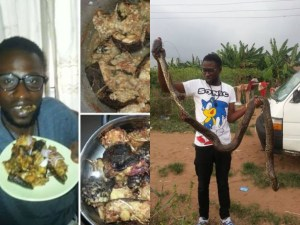 See the big snake this Delta man caught & used for pepper soup says it cures HIV/AIDS (Photos)