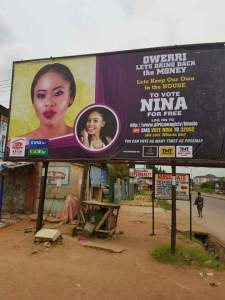 , #BBnaija: Nina Gets Massive Billboard At Imo State University (IMSU) Junction In Owerri (Photo), Effiezy - Top Nigerian News & Entertainment Website