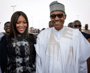 #PMBinLagos: Buhari meets Naomi Campbell as he tours Eko Atlantic City (Photos)