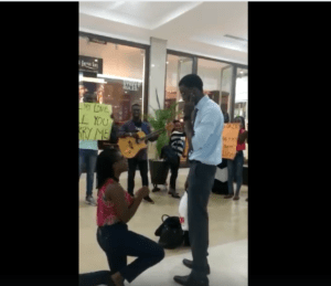 EMBARRASSING: Watch How Guy Turns Down His Girlfriend's MARRIAGE PROPOSAL At A Mall (Video)