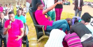 SMH: Church Members Lick Prophet Ejimadu Feet During Anointing (Photos)