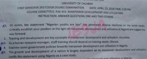 """UNICAL Students Confronted With """"Nigerian Youth Are Lazy"""" Question In Exam (Photo)"""