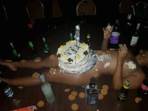 Lady Covers Her Naked Body With Her Birthday Cake; See Reactions (Photos)