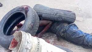 Young Man Burnt To Death In Eleme, Rivers After He Killed Somebody (Graphic Photo)